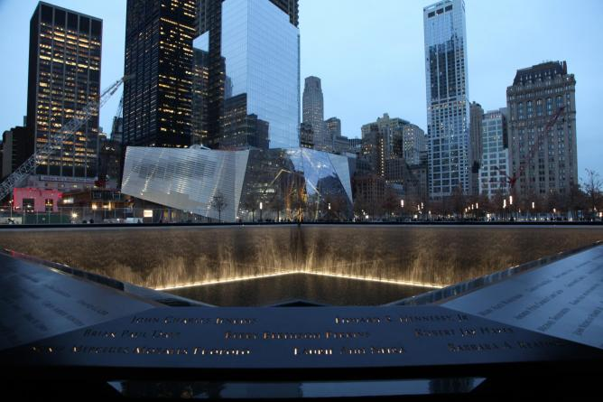 The View of the North Pool by Night at the September 11 Memorial Museum