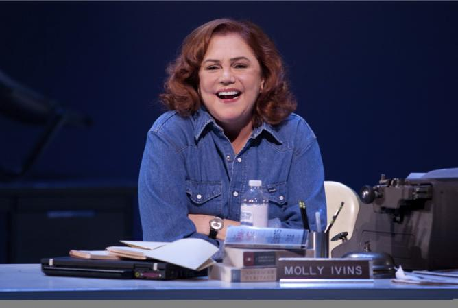 Two-time Tony and Academy Award nominee Kathleen Turner makes her Berkeley Rep debut as a sharp-witted political journalist in Red Hot Patriot: The Kick-Ass Wit of Molly Ivins. Photo by Mark Garvin