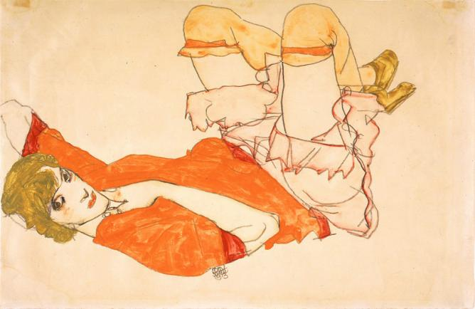 Egon Schiele, Wally in Red Blouse with Raised Knees, 1913, watercolor, gouache, and pencil, Private Collection | Courtesy of Neue Galerie