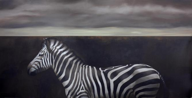 Ahmad Zakii Anwar, Zebra, 2014, acrylic on jute, 147 x 274 cm | Courtesy of the artist and Gajah Gallery