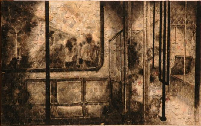 Phuan Thai Meng, Seats, 2006, newspaper collage and charcoal on rice paper glued on canvas, 76.5 x 122.5 cm | Courtesy Wei-Ling Gallery