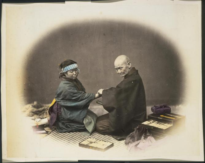 Doctor and female patient, Japan, taken between 1867 and 1869. © National  Library NZ/Flickr Commons