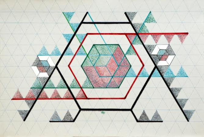 Monir Shahroudy Farmanfarmaian, Drawing 2, 2012, Felt marker, color pencil and mirror on paper, 62 x 95 cm | Courtesy The Third Line
