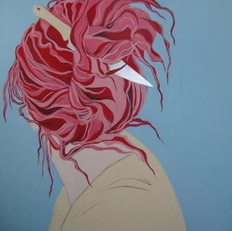 "Simin Keramati, Red Hair, 2011, from the series ""Living in Between the colors of my Flag"", acrylics and silver leaves on canvas, 150 x 150 cm. Private collection of Mrs Mina Etemad 