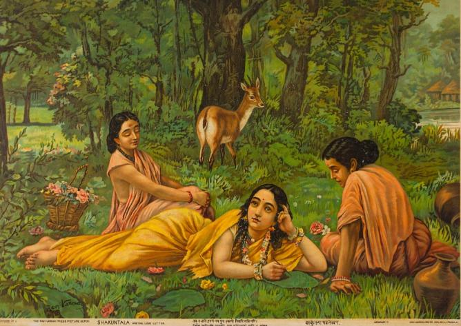 Raja Ravi Verma Shakuntala, Writing a Love Letter, Oleograph on paper, Late 19th Century