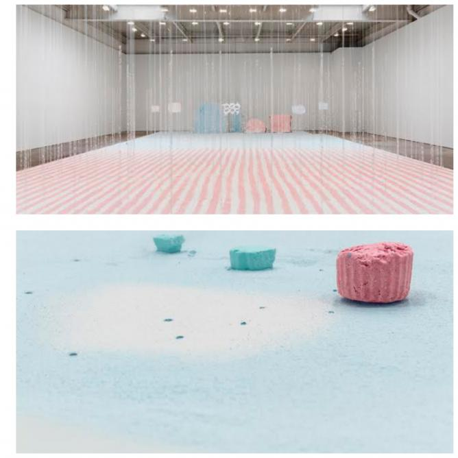 Karla Black, Take Its Place, 2014, plaster powder, powder paint, Sellotape, bath bombs, and nail polish, 1000 x 1700 cm. Installation view of Karla Black's 2014 solo exhibition at David Zwirner, New York. Photo by Maris Hutchinson   Courtesy David Zwirner, New York/London