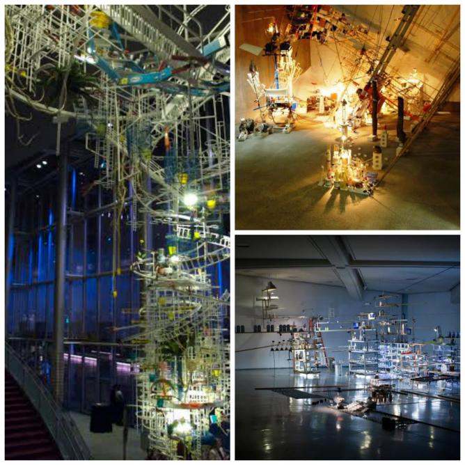 Sarah Sze, An Equal and Opposite Reaction, 2007, McCaw Hall, Seattle   © Flickr/Jay d   Sarah Sze, Just Now Dangled Still, 2008, site-specific installation at Liverpool Biennial 2008   © Flickr/John Lord   Sarah Sze, The Uncountables (Encyclopedia), 2010,mixed media, metal shelves, wood shelves, lights, plastic bottles, milk cartons, 454.7 x 1389.4 x 1242.1 cm    © Flickr/Mitch Huang