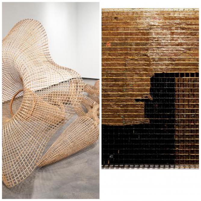 Sopheap Pich, Morning Glory, 2011, rattan, bamboo, wire, plywood, steel bolts, 533 x 262 x 188 cm   Courtesy the artist and Tyler Rollins Fine Art  Sopheap Pich, Barren Land, 2013, bamboo, rattan, wire, burlap, plastics, beeswax, damar resin, synthetic resin, charcoal, 200 x 250 x 8 cm   Courtesy the artist and Tyler Rollins Fine Art
