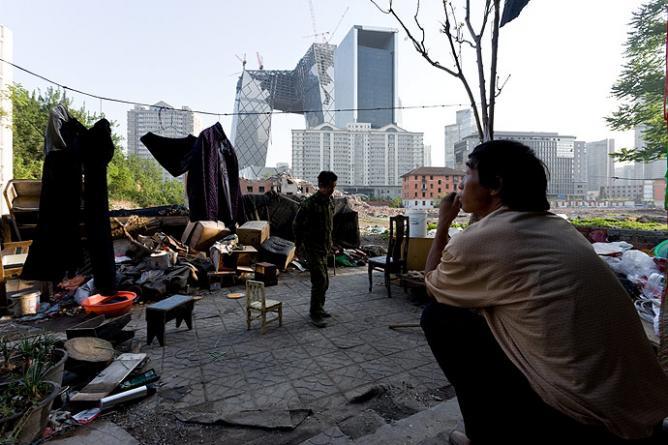 Migrant Workers Overlooking CCTV Tower, Beijing