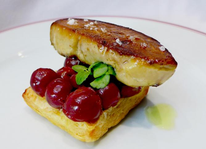 Pan-Fried Foie Gras with marinated Cherries & Puff Pastry, on Balzac's festive menu | Courtesy of Balzac Brasserie