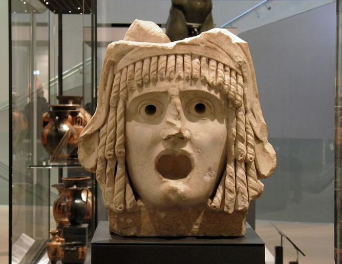 Tragic mask, 1st century BC to 1st century AD, Ashmolean Museum | © Magnus Manske/Wikicommons