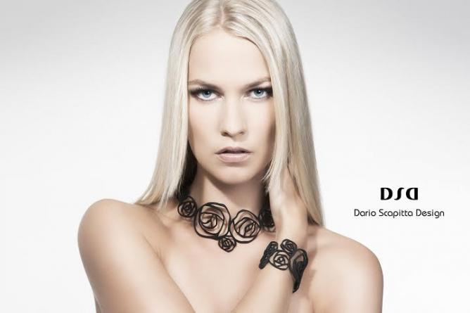 Black Rose Collection, petit collier and armband, black nylon | Courtesy Dario Scapitta Designs