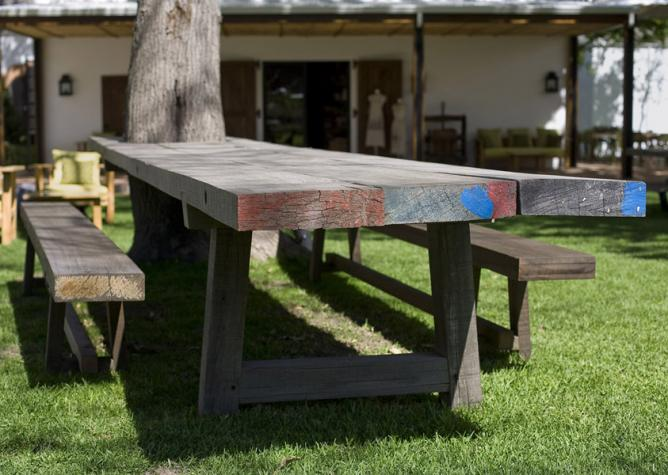 Outdoor Iroko Tree-Hugging Table, Solid Iroko 76mm thick with a grey oil finish