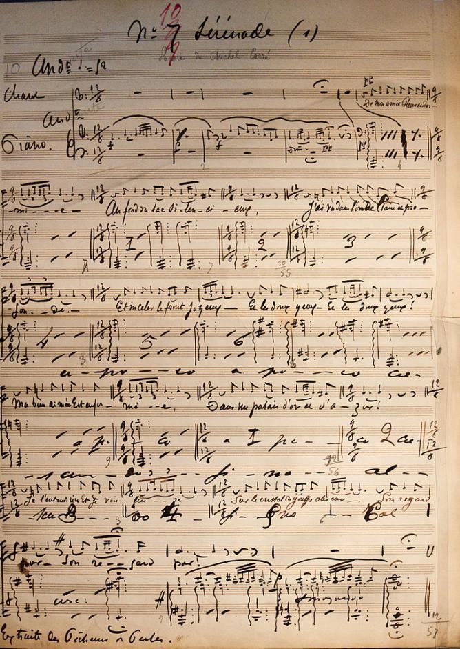 Manuscrit de la Sérénade de Bizet,1874 | © Tieum512/Wikicommons