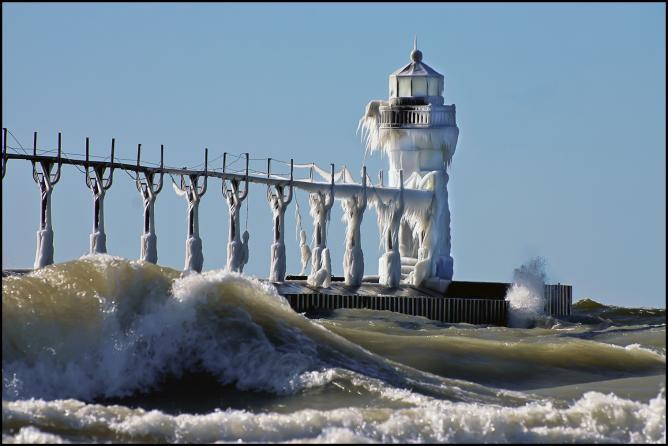 Frozen Lighthouse Michigan St. Joseph