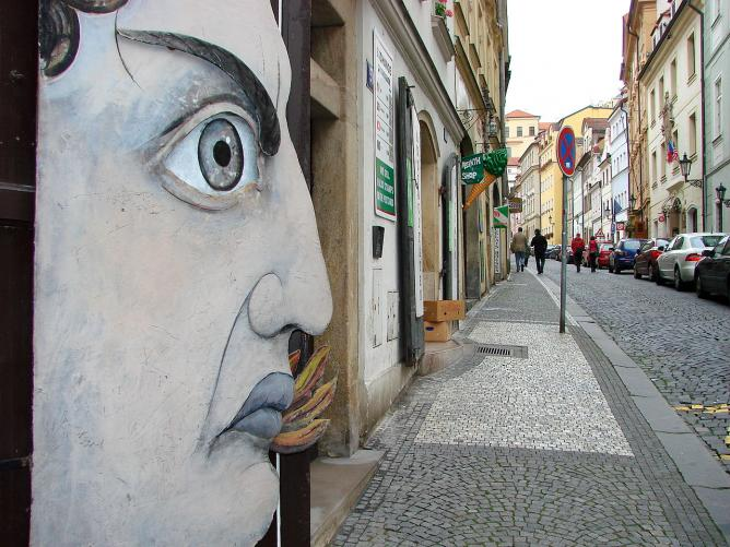 Street Scene with Public Art - Prague