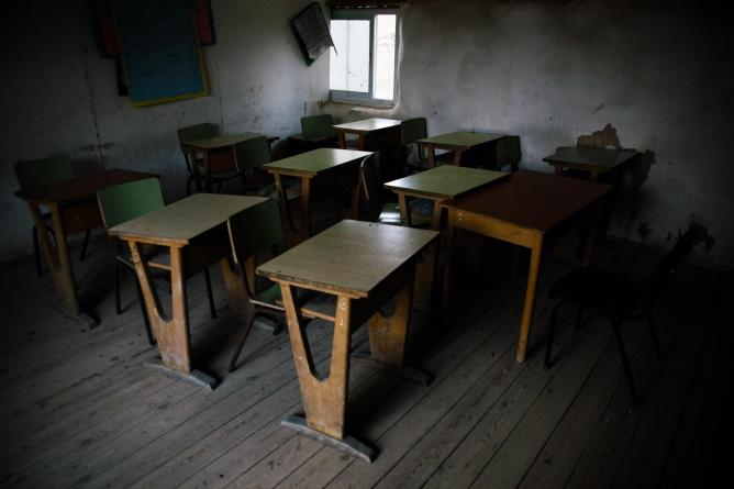 An empty class room in the days leading up to the Islamic holiday of eid al adha.