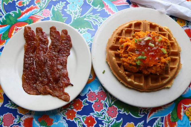 Duck and Sweet Potatoe Waffle with Praline Bacon | Photo by Rebecca ...