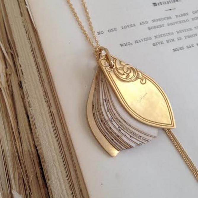 sliced book necklace