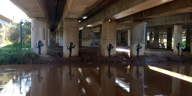 Art under the Ayalon Highway overpass | © Sydney Dratel 2015