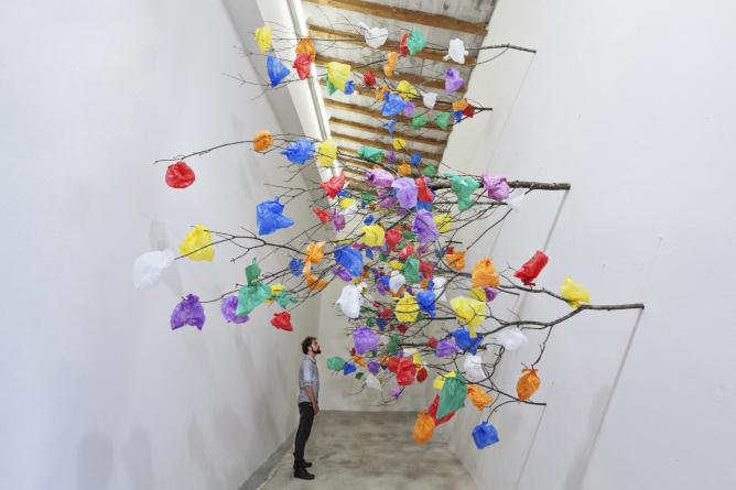 Plastic Tree C by Pascale Marthine Tayou, Art Dubai   © Courtesy of Pascale Marthine Tayou and GALLERIA CONTINUA San Gimignano / Beijing / Les Moulins
