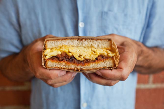 Egg & Chorizo Sandwich at The Sycamore Kitchen / Courtesy of Dylan + Jeni Photography
