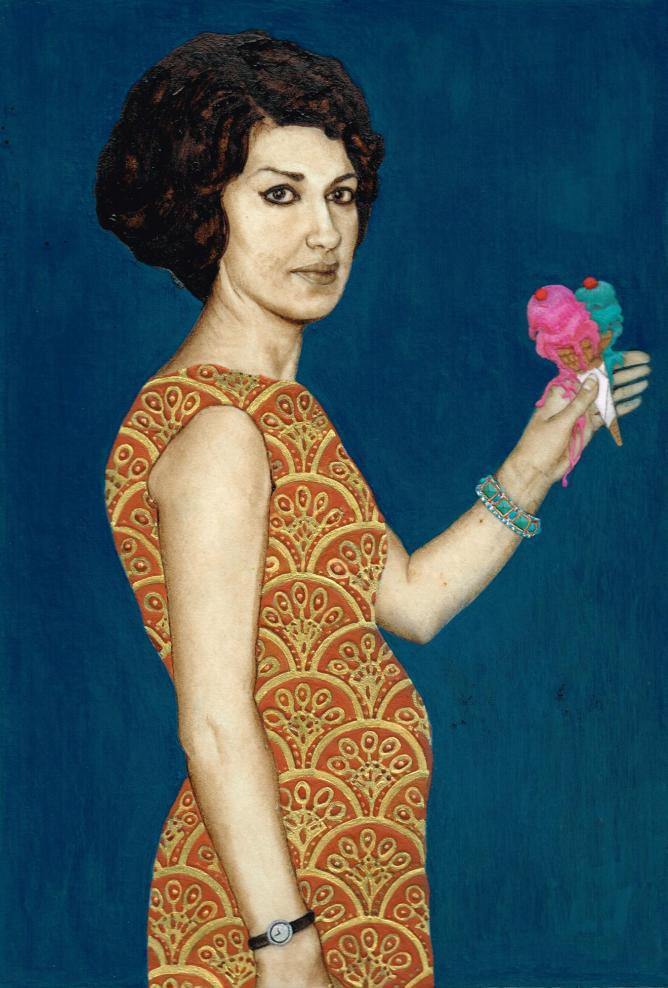 Untitled (woman holding ice cream) 2014, 15x20cm. Crude oil, Lapis lazuli, egg tempera and 22ct gold on Calf vellum © Soheila Sokhanvari