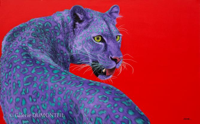 Helmut Koller, Leopard on Red, 2013, acrylic on linen, signed, 122 x 198 cm, presented by Galerie DUMONTEIL at Art Central 2015 | Courtesy Galerie DUMONTEIL