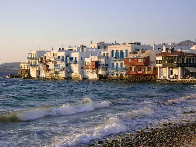 View of Little Venice, Mykonos, Greece