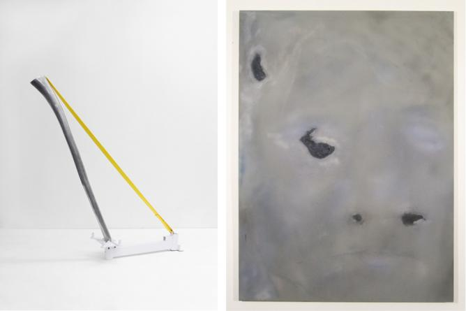 Tao Kulczycki, Resonance, 2015, aluminum (original Didgeridoo), engine stand, strap, 60.5 x 53 x 14 in (Right); Ian Swanson, Aging4, 2014, airbrushed acrylic, graphite on rayon, 62 x 46 in (Left) | Image Courtesy the Artist and BOSI Contemporary.