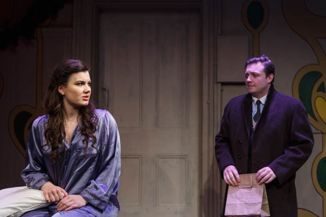 Charlotte Jaconelli and John Sandberg as Amalia Balash and Georg Nowack in She Loves Me