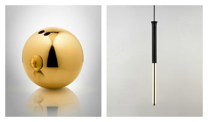 Ball Vase (Cast Brass) & 120V CFL with pendant rod | Image courtesy of Michael Anastassiades