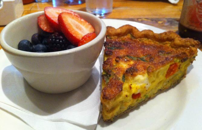 Quiche and a fruit bowl from Honeypie Café   © kris miller/Flickr