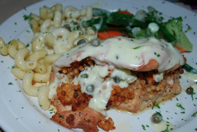 Stuffed chicken at Candlelight Dinner Playhouse | Courtesy of Candlelight Dinner Playhouse
