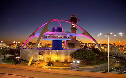 the Theme Building at night