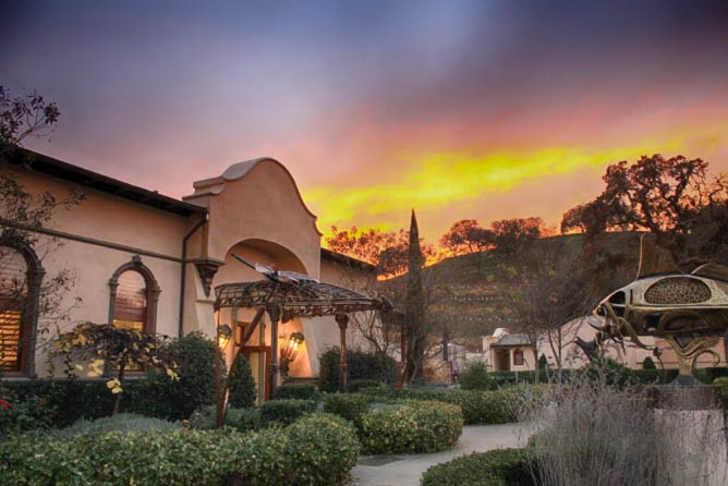 Sculpterra Winery's tasting room at sunset | Courtesy of Sculpterra Winery & Sculpture Garden