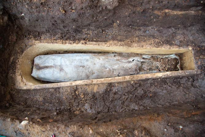 Archaeologists were surprised to uncover a lead coffin within the stone casket