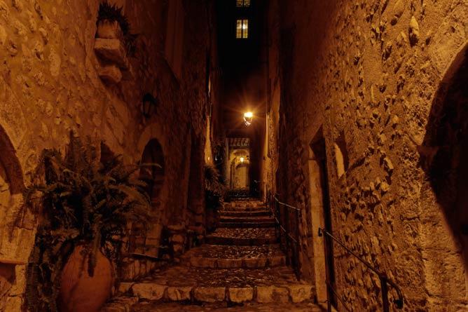 Cobbled streets of Saint-Paul-de-Vence at night