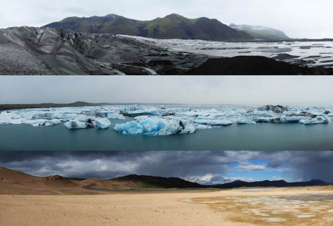 A sample of three typical Icelandic landscapes.