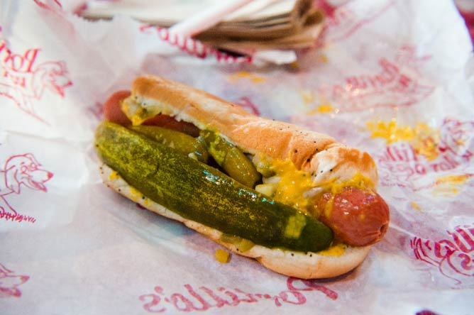 The Chicago-style dog at Portillo's