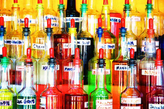 Bottles of Sno Cone Flavors