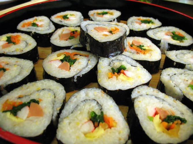 Rice and vegetables rolled in seaweed