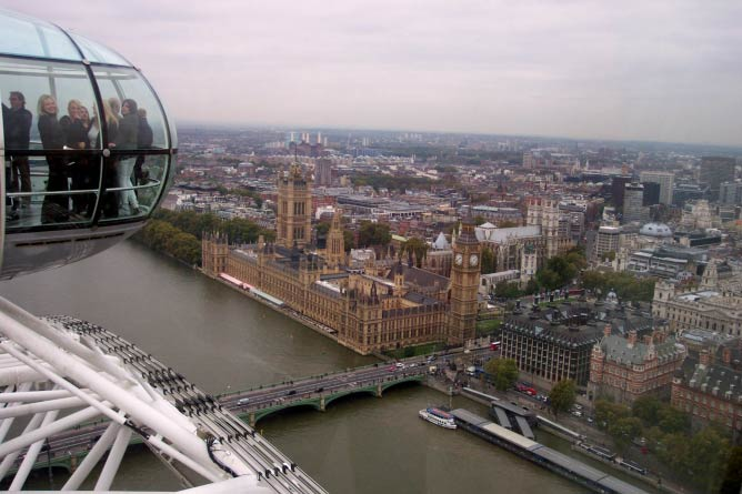View of the Houses of Parliament and Big Ben from London Eye
