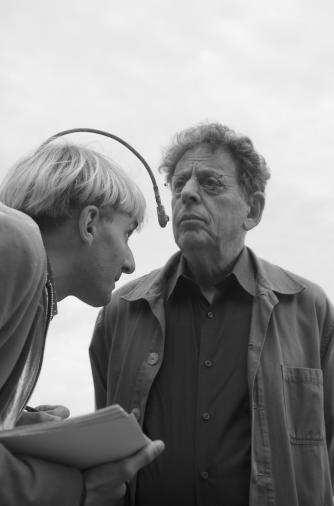 Neil Harbisson creating a sound portrait of American Composer Philip Glass, 2014 © Mribas/wikicommons