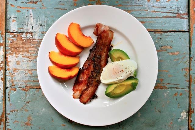 Paleo Diet Peach Bacon Avocado