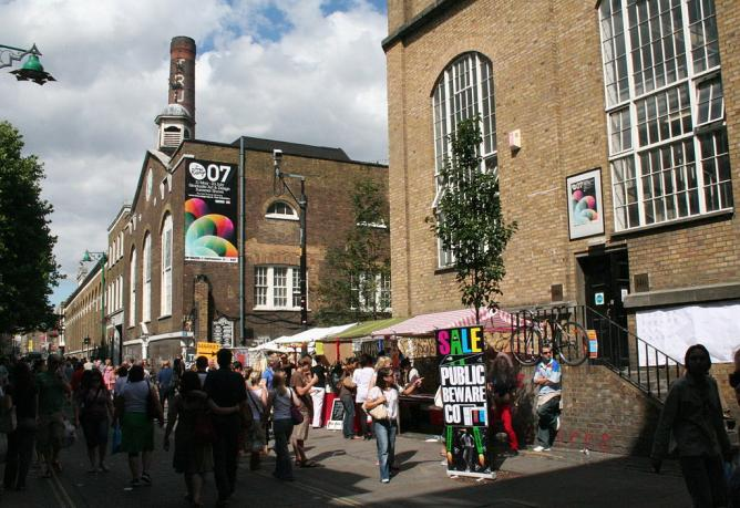 Brick Lane Market with Old Truman Brewery