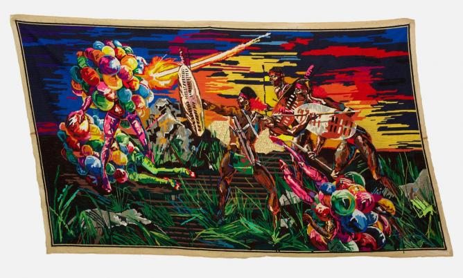 Athi-Patra Ruga, 'Invitation...Presentation...Induction', 2013, Wool and thread on tapestry canvas, 300 x 175 cm © Athi-Patra Ruga, courtesy of the artist and WHATIFTHEWORLD