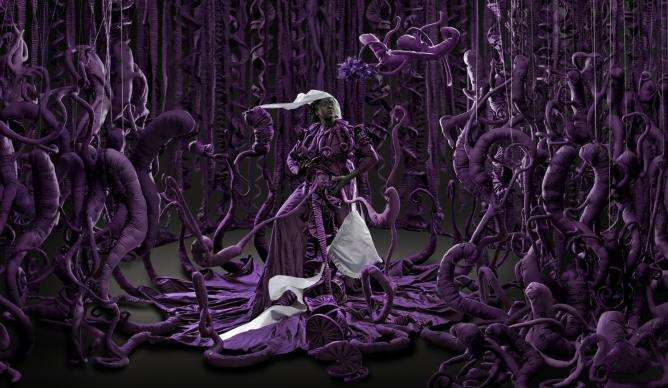 Mary Sibande, 'A Terrible Beauty is Born', 2013, Digital pigment print, 110 x 321.5 cm ©Mary Sibande, courtesy of the artist and Gallery MOMO