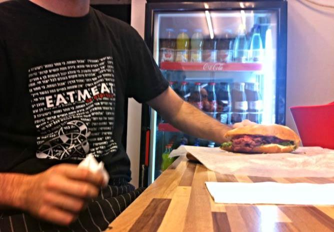 Preparing the EatMeat sandwich