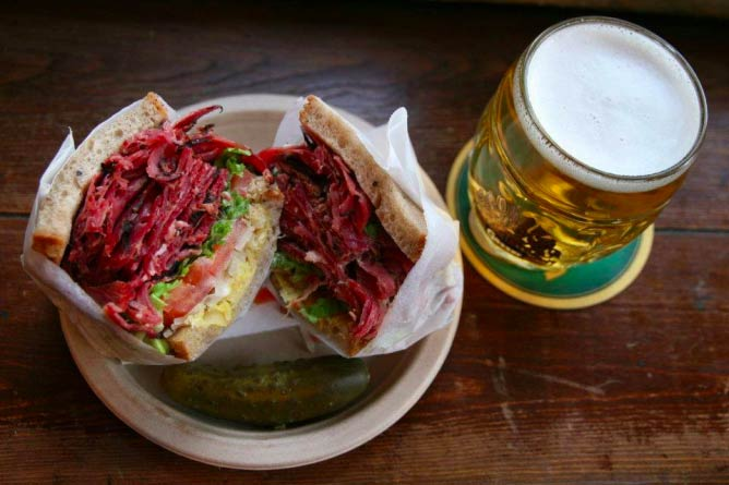 The famous ruben sandwich and beer